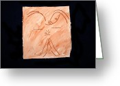 Angels Ceramics Greeting Cards - Guardian Angel Greeting Card by Gloria Ssali