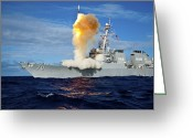 Guided Missile Destroyers Greeting Cards - Guided Missile Destroyer Uss Hopper Greeting Card by Stocktrek Images