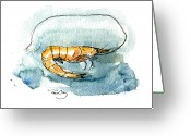 Oysters Greeting Cards - Gulf Shrimp Greeting Card by Paul Gaj