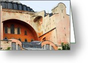 Byzantine Greeting Cards - Hagia Sophia Byzantine Architecture Greeting Card by Artur Bogacki