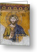 Byzantine Greeting Cards - Hagia Sophia: Mosaic Greeting Card by Granger