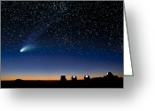 Hale-bopp Greeting Cards - Hale Bopp And Observatories, Hawaii Greeting Card by David Nunuk
