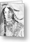 Western Pencil Drawings Greeting Cards - Half Breed Greeting Card by Derek Hayes