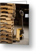 Wooden Pallets Greeting Cards - Hand Truck and Wooden Pallets Greeting Card by Shannon Fagan