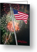 July 4th 1776 Greeting Cards - Happy Birthday America Greeting Card by Anthony R Socci