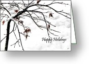 Winter Trees Mixed Media Greeting Cards - Happy Holidays Greeting Card by Gerlinde Keating - Keating Associates Inc