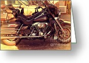 Old Postcards Greeting Cards - Harley-Davidson Motorcycle . 7D10793 Greeting Card by Wingsdomain Art and Photography