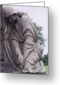 Mourner Greeting Cards - Haunting Cemetery Female Mourner On Grave Greeting Card by Kathy Fornal