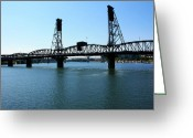 Pdx Art Greeting Cards - Hawthorne Bridge Greeting Card by Cathie Tyler