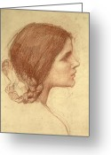Hair Drawing Greeting Cards - Head of a Girl Greeting Card by John William Waterhouse