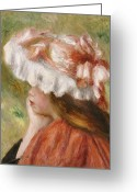 Hand On Chin Greeting Cards - Head of a Young Girl in a Red Hat  Greeting Card by Pierre Auguste Renoir