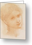 Soft Drawings Greeting Cards - Head Study of a Girl Greeting Card by Sir Edward Burne-Jones