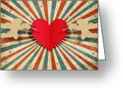 Old Paper Greeting Cards - Heart And Cupid With Ray Background Greeting Card by Setsiri Silapasuwanchai