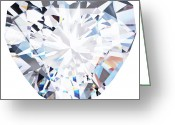Object Jewelry Greeting Cards - Heart Diamond  Greeting Card by Setsiri Silapasuwanchai