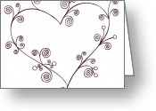 Swirls Drawings Greeting Cards - Heart Greeting Card by Frank Tschakert