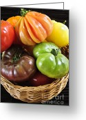 Green Tomato Greeting Cards - Heirloom tomatoes Greeting Card by Elena Elisseeva