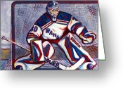 New York Rangers Painting Greeting Cards - Henrik Lundqvist  Greeting Card by Steve Benton