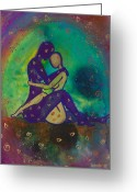 Lesbian Greeting Cards - Her Loves Embrace Greeting Card by Ilisa  Millermoon