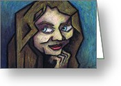 Expression Pastels Greeting Cards - Her Smile Greeting Card by Kamil Swiatek