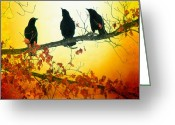 Blackbirds Greeting Cards - Here Comes The Sun Greeting Card by Gothicolors With Crows