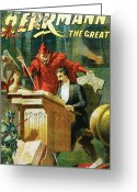 Magic Trick Greeting Cards - Herrmann The Great Greeting Card by Unknown