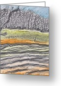 Hall Pastels Greeting Cards - Hill Behind Coindre Hall Greeting Card by Don Schaeffer