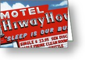 Reproductions Greeting Cards - Hiway House Motel Greeting Card by Anthony Ross
