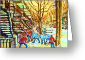 Hockey On The Streets Of Montreal Greeting Cards - Hockey Game near Winding Staircases Greeting Card by Carole Spandau