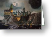Moon Greeting Cards - Hogwarts Castle Greeting Card by Tim Loughner