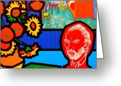 Van Painting Greeting Cards - Homage To Vincent Van Gogh Greeting Card by John  Nolan