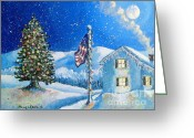 Snowy Night Greeting Cards - Home for the Holidays Greeting Card by Shana Rowe