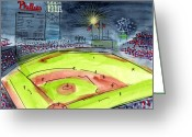 Citizens Bank Park Painting Greeting Cards - Home of the Philadelphia Phillies Greeting Card by Jeanne Rehrig