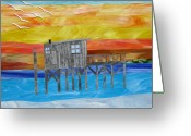 Cedar Key Glass Art Greeting Cards - Honeymoon Sunset Greeting Card by Charles McDonell