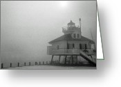 Lighthouse Artwork Greeting Cards - Hooper Straight Lighthouse Greeting Card by Skip Willits
