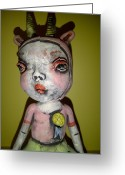 Fun Ceramics Greeting Cards - Horned Girl Cool Greeting Card by Kathleen Raven