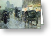 Raining Painting Greeting Cards - Horse Drawn Cabs at Evening in New York Greeting Card by Childe Hassam