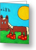 Neigh Greeting Cards - Horse Greeting Card by Sheep McTavish