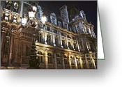 Nighttime Greeting Cards - Hotel de Ville in Paris Greeting Card by Elena Elisseeva