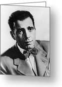 1940s Fashion Greeting Cards - Humphrey Bogart (1899-1957) Greeting Card by Granger