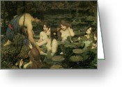 John William Waterhouse Greeting Cards - Hylas and the Nymphs Greeting Card by John William Waterhouse