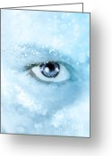 Lashes Greeting Cards - Ice Blue Greeting Card by Stephanie Frey