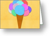 Paper Mixed Media Greeting Cards - Ice Cream On Hand Made Paper Greeting Card by Setsiri Silapasuwanchai