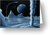 Ices Greeting Cards - Ice Volcanoes On Triton, Artwork Greeting Card by Richard Bizley