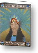 Person Pastels Greeting Cards - Ichpochtli Greeting Card by Lynet McDonald