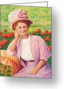 Impressionist Greeting Cards - Ida in the Garden Greeting Card by Amy Vangsgard