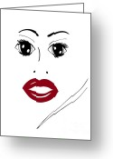 Graphic Greeting Cards - Illustration of a woman in fashion Greeting Card by Frank Tschakert