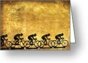 Riders Greeting Cards - Illustration of cyclists Greeting Card by Bernard Jaubert