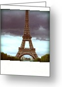 Paris Greeting Cards - Illustration of Eiffel Tower Greeting Card by Bernard Jaubert