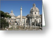 Archaeology Greeting Cards - Imperial Fora with the Trajans Column and the Church Santissimo Nome Di Maria.  Rome Greeting Card by Bernard Jaubert