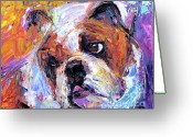 Pet Portrait Drawings Greeting Cards - Impressionistic Bulldog painting  Greeting Card by Svetlana Novikova